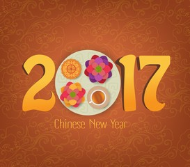 Chinese New Year Element, Blooming Flower Design