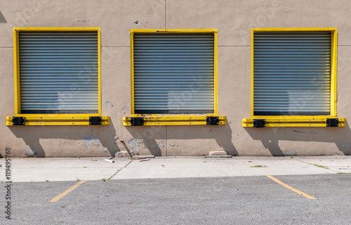 Isolated Image Of Warehouse Garage Doors Image Of Multiple Freight