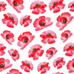 Watercolor flowers red poppy botanical seamless pattern.