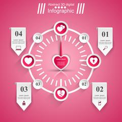 Love Infographic. Heart icon. Speedometer icon.