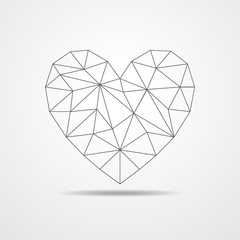 Heart in triangular design - vector illustration.