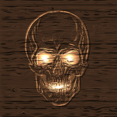 hand drawn anatomy skull with different tones and lines on wooden texture. Vector
