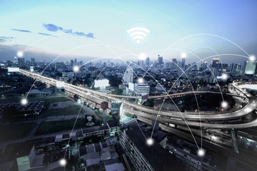 City scape and network connection