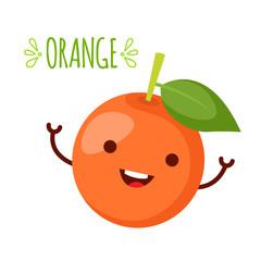 happy orange waving its hands