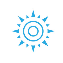 abstract simple sun icon isolated on white background. Sun Vector isolated, Sun summer icon design