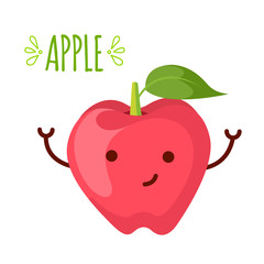 illustration of apple cartoon character