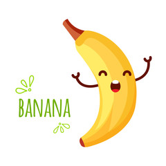 Cheerful Cartoon banana raising his hands