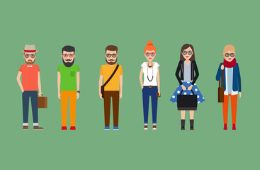 Flat hipster girls and boys set. Vector illustration