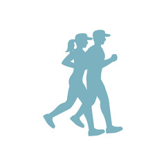 Run couple blue silhouette on white background. Vector illustration