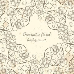 Decorative floral background vintage style. Vector illustration