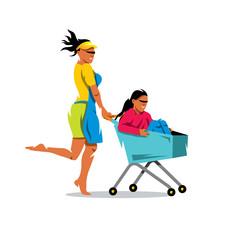 Vector Racing on the shopping trolley Cartoon Illustration.