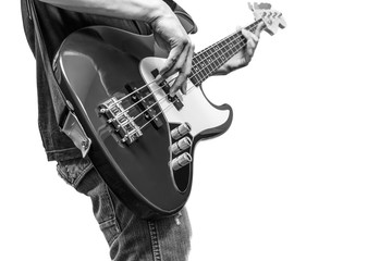 bass player, BW filter + isolated on white