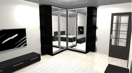 3D rendering interior design mirrored corner wardrobe