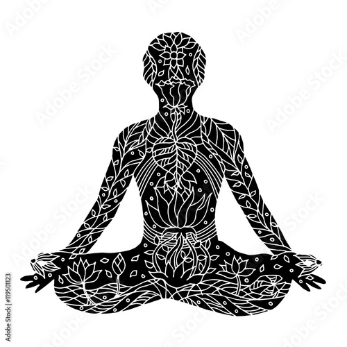 Lotus Pose With Mudra Hands Yoga Posture Hand Drawn Vector
