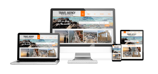 Wall Mural - devices isolated mockup travel agency responsive design