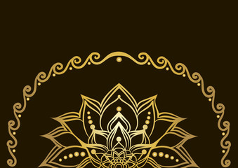 Drawing of a golden  line art lotus flower with a frame, gradient coloring