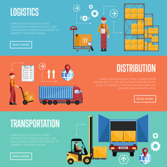 Logistics process services banners set of distribution, transportation and delivery isolated vector illustration. Exterior warehouse, porters and shelves with goods.