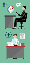 Project management business multitasking concept flat vector