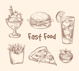 Fast food vector set in hand drawn sketch style