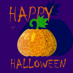 Happy Halloween postcard template with glitter pumpkin