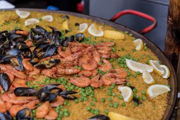 Seafood Paella sold at Borough Market in London, UK