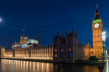 Evening at the Big Ben and House of Parliament in London, UK
