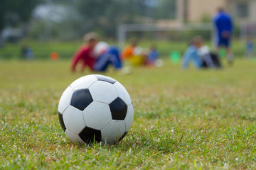 Soccer ball on the football stadium