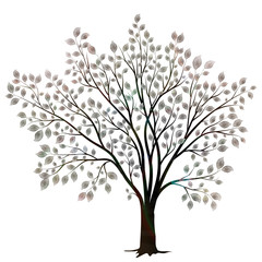 Tree with leaves silhouette isolated on white vector
