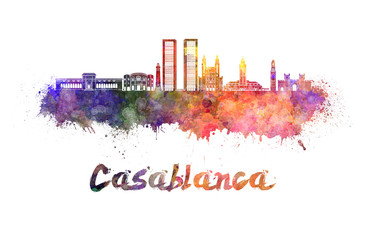 Wall Mural - Casablanca V2 skyline in watercolor