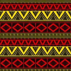 Tribal pattern vector seamless. African background with in Uganda flags colors. Ethic texture. Design for fabric, wallpaper, wrapping paper and card template.