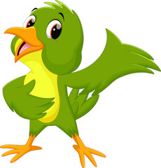Green bird cartoon waving