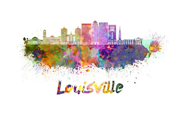 Wall Mural - Louisville V2 skyline in watercolor