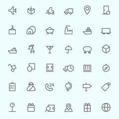 Logistic icons, simple and thin line design