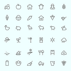 Farm icon set, simple and thin line design