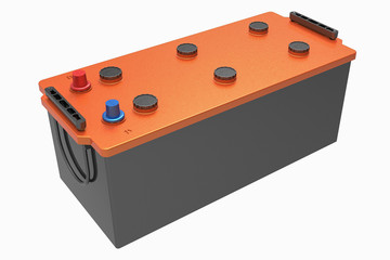 3D black truck battery with handles on white with orange cover and red and blue terminals
