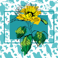 Vector card with sunflower on seamless nature silhouette pattern