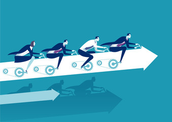 Teamwork. Business people pedaling upwards the arrow sign. Business concept vector illustration
