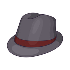 Gray hat icon in cartoon style on a white background
