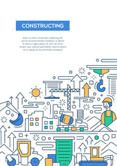 Constructing - line design brochure poster template A4