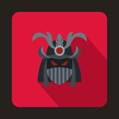 Japanese samurai mask icon in flat style on a crimson background
