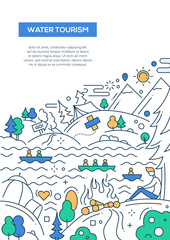 Water Tourism - line design brochure poster template A4