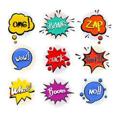 Comic speech bubble set on white background