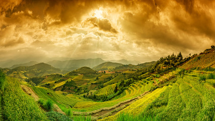 Garden Poster Rice fields Rice fields of terraced on river at high mountain in Sunset twil