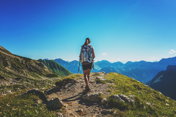 Fotomurales - Woman hiking in the Allgau Alps, Germany