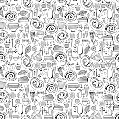 Hand drawn sweets and candies set. Monochrome Vector Seamless Pattern.