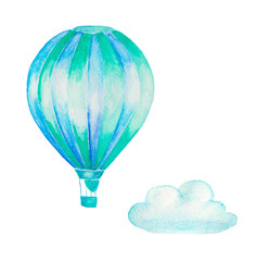 watercolor hand painted hot air balloon and cloud isolated