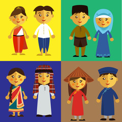 Asian people from different culture