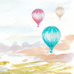 watercolor hand painted landscape with hot air balloons