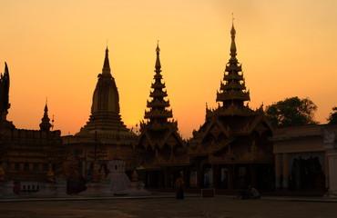 Shwezigon Pagoda in Bagan at the sunset, Myanmar
