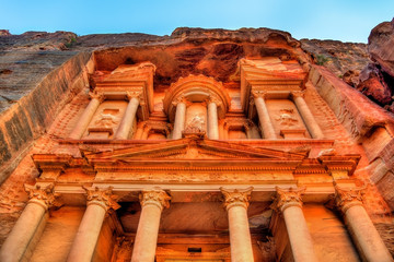 Al Khazneh temple in Petra. UNESCO world heritage site